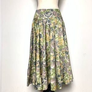 DKNY Premium Cotton Green Floral Midi Skirt (4)